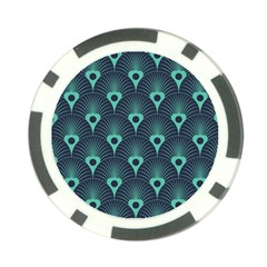 Blue,teal,peacock Pattern,art Deco Poker Chip Card Guard by 8fugoso