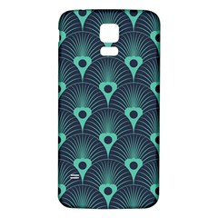 Blue,teal,peacock Pattern,art Deco Samsung Galaxy S5 Back Case (white)