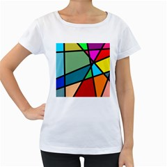 Modern Abstract Women s Loose Fit T Shirt (white) by vwdigitalpainting