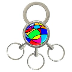 Abstract Curves 3 Ring Key Chains