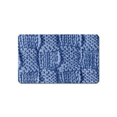 Knitted Wool Square Blue Magnet (name Card) by snowwhitegirl