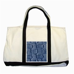 Knitted Wool Square Blue Two Tone Tote Bag by snowwhitegirl