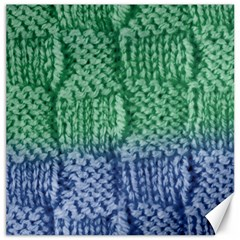 Knitted Wool Square Blue Green Canvas 12  X 12   by snowwhitegirl