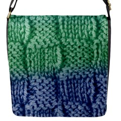Knitted Wool Square Blue Green Flap Messenger Bag (s) by snowwhitegirl