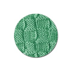 Knitted Wool Square Green Magnet 3  (round) by snowwhitegirl
