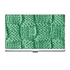 Knitted Wool Square Green Business Card Holders by snowwhitegirl