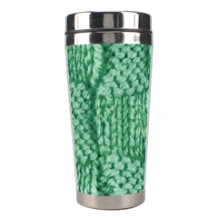 Knitted Wool Square Green Stainless Steel Travel Tumblers by snowwhitegirl