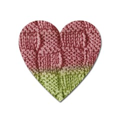 Knitted Wool Square Pink Green Heart Magnet by snowwhitegirl