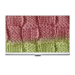 Knitted Wool Square Pink Green Business Card Holders
