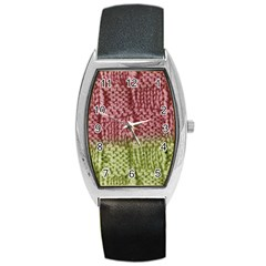 Knitted Wool Square Pink Green Barrel Style Metal Watch by snowwhitegirl