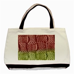 Knitted Wool Square Pink Green Basic Tote Bag by snowwhitegirl
