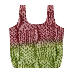 Knitted Wool Square Pink Green Full Print Recycle Bags (l)  by snowwhitegirl