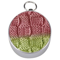 Knitted Wool Square Pink Green Silver Compasses by snowwhitegirl