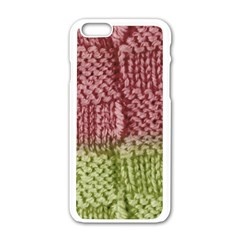 Knitted Wool Square Pink Green Apple Iphone 6/6s White Enamel Case by snowwhitegirl