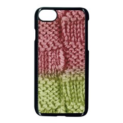 Knitted Wool Square Pink Green Apple Iphone 8 Seamless Case (black) by snowwhitegirl
