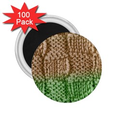 Knitted Wool Square Beige Green 2 25  Magnets (100 Pack)  by snowwhitegirl