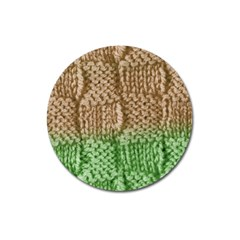 Knitted Wool Square Beige Green Magnet 3  (round) by snowwhitegirl