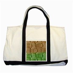 Knitted Wool Square Beige Green Two Tone Tote Bag by snowwhitegirl