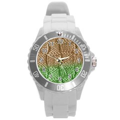 Knitted Wool Square Beige Green Round Plastic Sport Watch (l) by snowwhitegirl