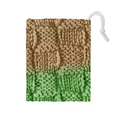 Knitted Wool Square Beige Green Drawstring Pouches (large)  by snowwhitegirl