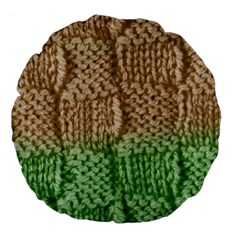 Knitted Wool Square Beige Green Large 18  Premium Flano Round Cushions by snowwhitegirl