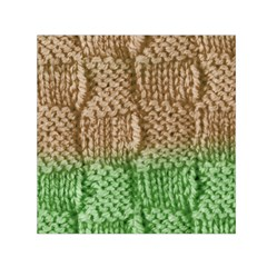 Knitted Wool Square Beige Green Small Satin Scarf (square) by snowwhitegirl