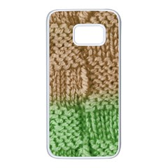 Knitted Wool Square Beige Green Samsung Galaxy S7 White Seamless Case