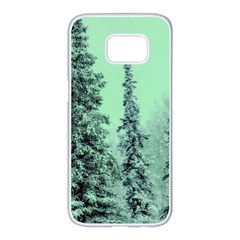Winter Trees Samsung Galaxy S7 Edge White Seamless Case by vintage2030