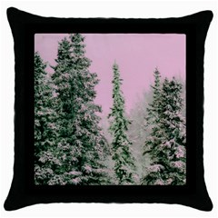 Winter Trees Pink Throw Pillow Case (black) by vintage2030