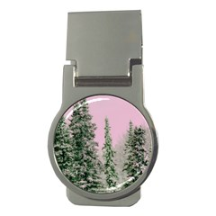 Winter Trees Pink Money Clips (round)  by vintage2030