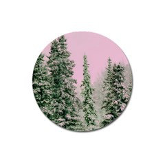 Winter Trees Pink Magnet 3  (round) by vintage2030