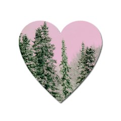 Winter Trees Pink Heart Magnet by vintage2030