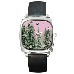 Winter Trees Pink Square Metal Watch by vintage2030