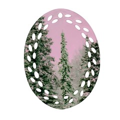 Winter Trees Pink Oval Filigree Ornament (two Sides) by vintage2030