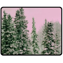 Winter Trees Pink Double Sided Fleece Blanket (medium)  by vintage2030