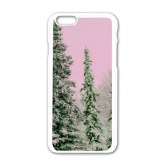 Winter Trees Pink Apple Iphone 6/6s White Enamel Case by vintage2030
