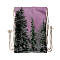 Winter Trees Pink Drawstring Bag (small) by vintage2030