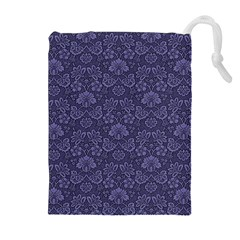Damask Purple Drawstring Pouches (extra Large) by vintage2030