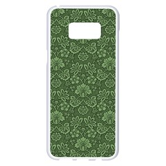 Damask Green Samsung Galaxy S8 Plus White Seamless Case by vintage2030