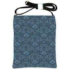 Damask Blue Shoulder Sling Bags by vintage2030