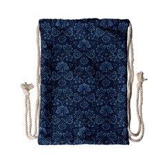 Damask Blue Drawstring Bag (small) by vintage2030