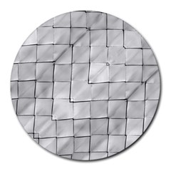 Silver Grid Pattern Round Mousepads by dflcprints