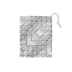 Silver Grid Pattern Drawstring Pouches (small)  by dflcprints
