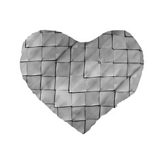 Silver Grid Pattern Standard 16  Premium Flano Heart Shape Cushions by dflcprints