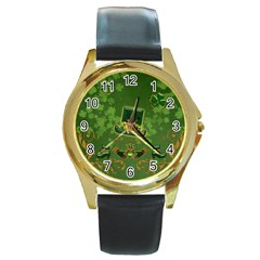 Happy St  Patrick s Day With Clover Round Gold Metal Watch by FantasyWorld7