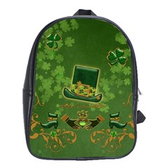 Happy St  Patrick s Day With Clover School Bag (large) by FantasyWorld7
