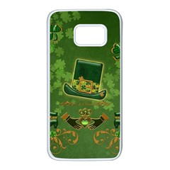 Happy St  Patrick s Day With Clover Samsung Galaxy S7 White Seamless Case by FantasyWorld7