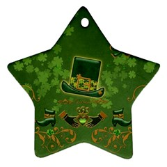 Happy St  Patrick s Day With Clover Ornament (star) by FantasyWorld7