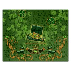 Happy St  Patrick s Day With Clover Rectangular Jigsaw Puzzl by FantasyWorld7
