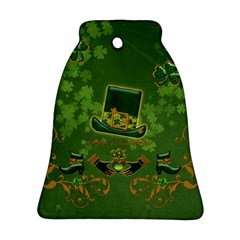 Happy St  Patrick s Day With Clover Ornament (bell) by FantasyWorld7